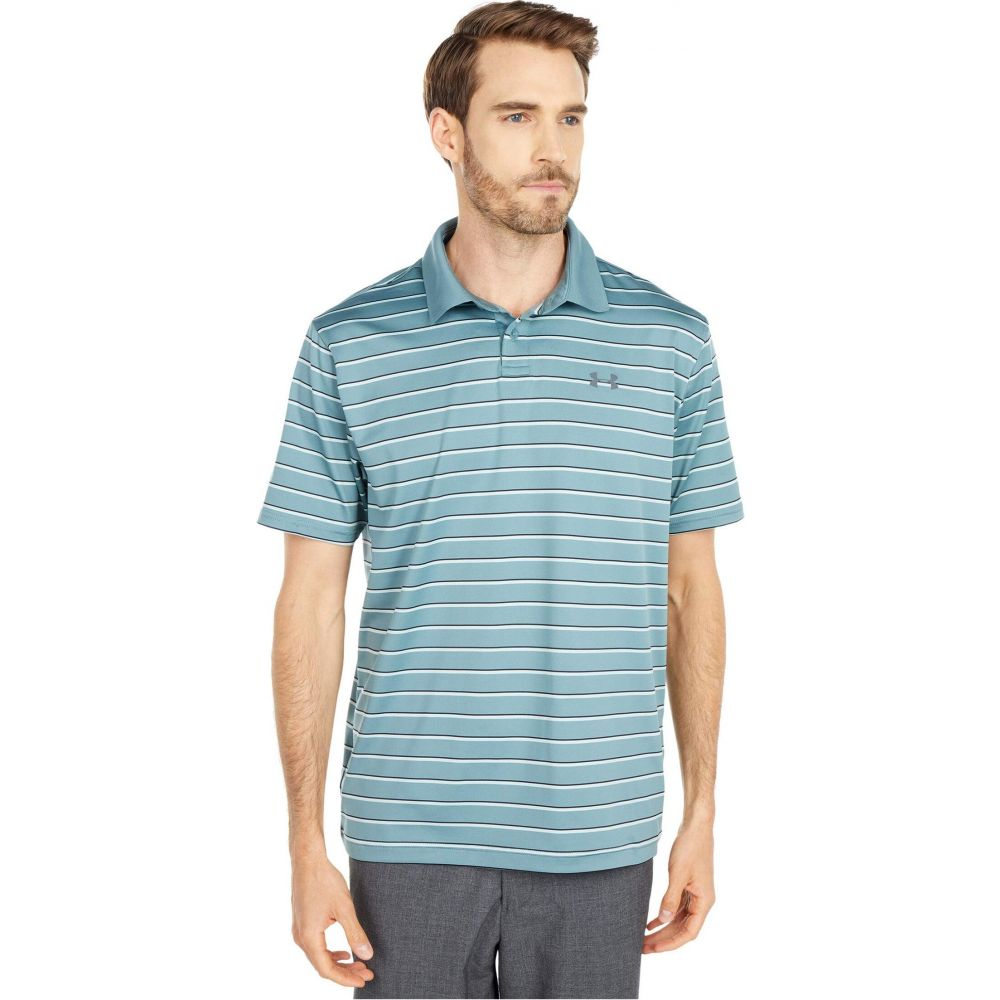 アンダーアーマー Under Armour Golf メンズ ポロシャツ トップス【Performance Polo 2.0 Divot Stripe】Lichen Blue/Pitch Gray