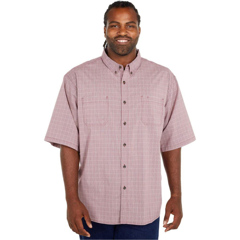 ディッキーズ Dickies メンズ 半袖シャツ 大きいサイズ トップス【Big & Tall Relaxed Fit Flex Short Sleeve Plaid Shirt】Wine Quail Grey Mini Check