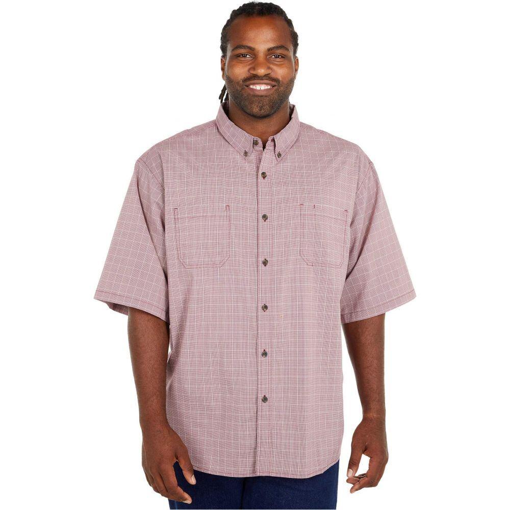 ディッキーズ Dickies メンズ 半袖シャツ 大きいサイズ トップス【Big & Tall Relaxed Fit Flex Short Sleeve Plaid Shirt】Wine Quail Grey Mini Check