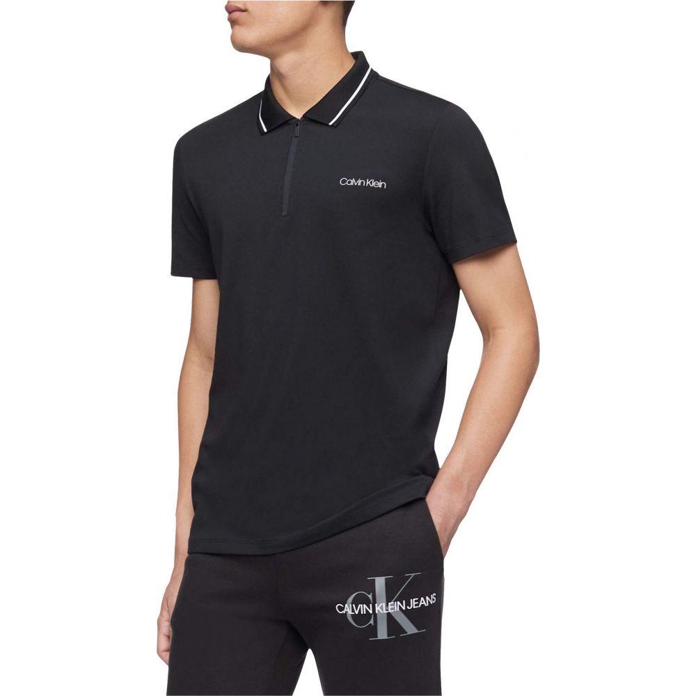 カルバンクライン Calvin Klein メンズ ポロシャツ 半袖 トップス【Move 365 Short Sleeve Zip Polo Quick Dry, Moisture Wicking & Quick Dry Features】Black