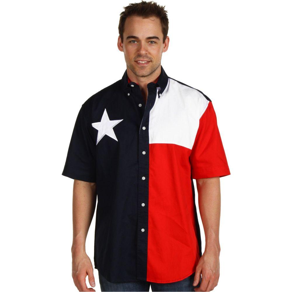ローパー Roper メンズ 半袖シャツ トップス【S/S Pieced Texas Flag Shirt】Natural