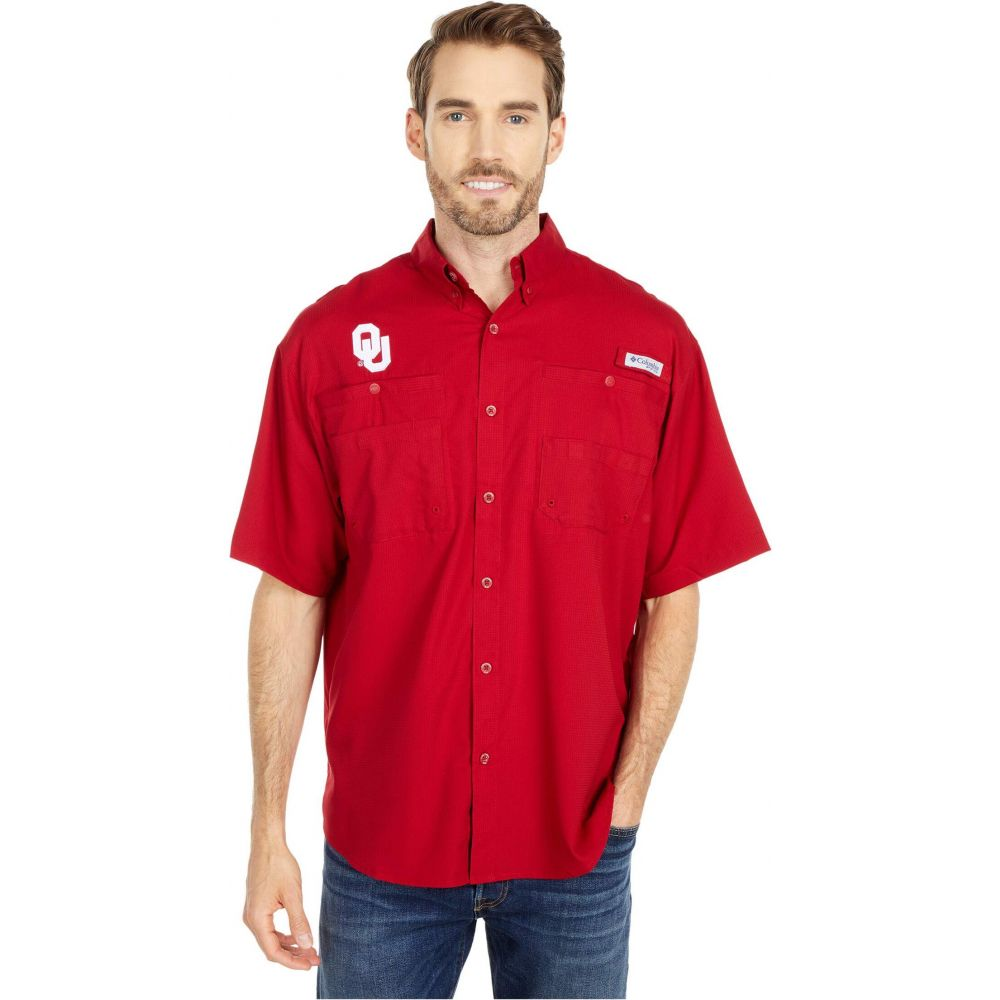 コロンビア Columbia College メンズ 半袖シャツ トップス【Oklahoma Sooners Tamiami(TM) Short Sleeve Shirt】Red Velvet
