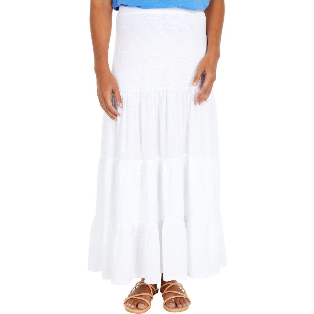 モドオードック Mod-o-doc レディース ロング・マキシ丈スカート ティアードスカート スカート【Heavier Slub Jersey Tiered Maxi Skirt with Gauze Panels】White