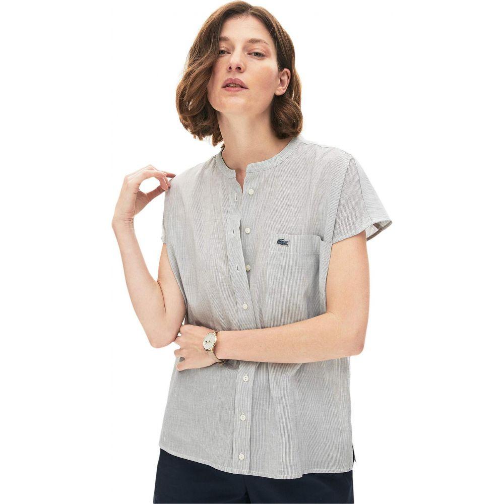 ラコステ Lacoste レディース ノースリーブ トップス【Sleeveless Basic Shirt】Flour/Navy Blue