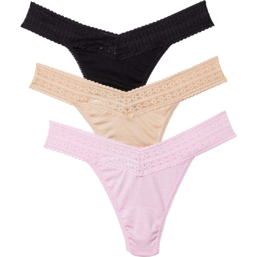 ハンキーパンキー Hanky Panky レディース ショーツのみ 3点セット インナー・下着【Modal Original Rise Thong 3-Pack】Black/Chai/Pink:フェルマート