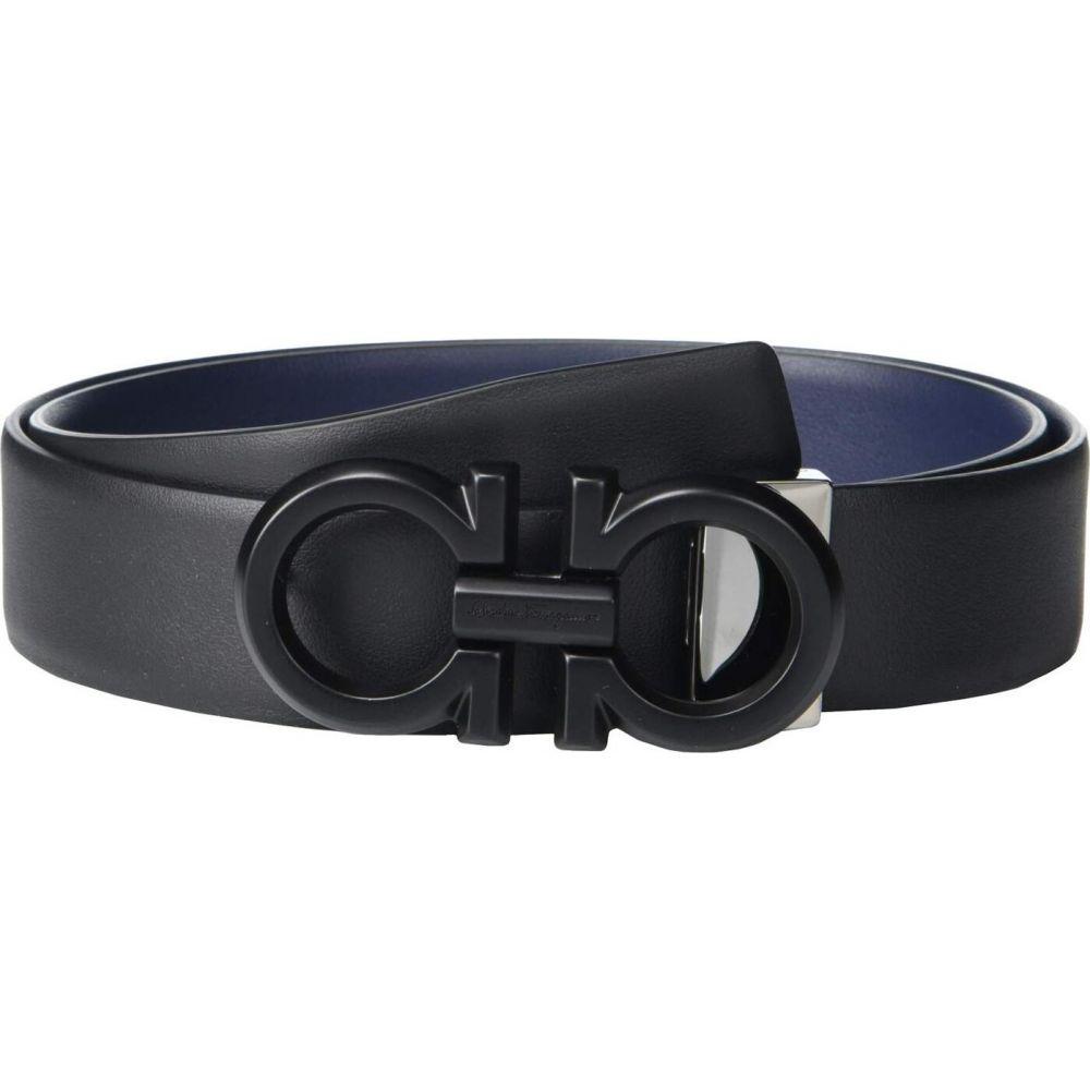 祝開店大放出セール開催中 サルヴァトーレ フェラガモ メンズ ファッション小物 ベルト 日本産 Black Blue Marine Adjustable Ferragamo Belt Salvatore サイズ交換無料 Reversible 67A253