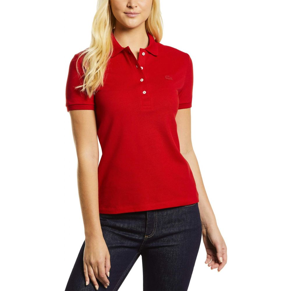 ラコステ Lacoste レディース ポロシャツ 半袖 トップス【Short Sleeve Slim Fit Stretch Pique Polo】Red
