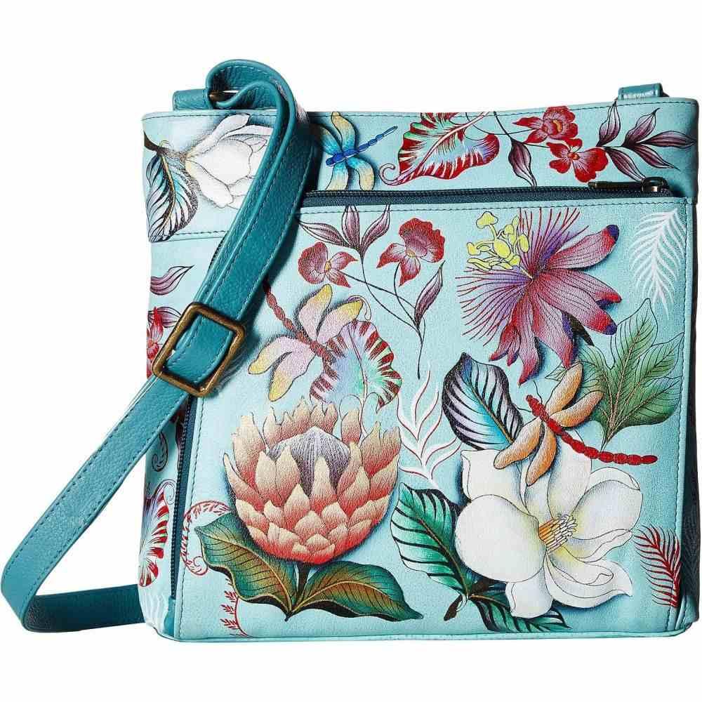 Anuschka with レディース RFID バッグ【Crossbody Front ショルダーバッグ 651】Jardin in Built Wallet Handbags アヌシュカ Bleu