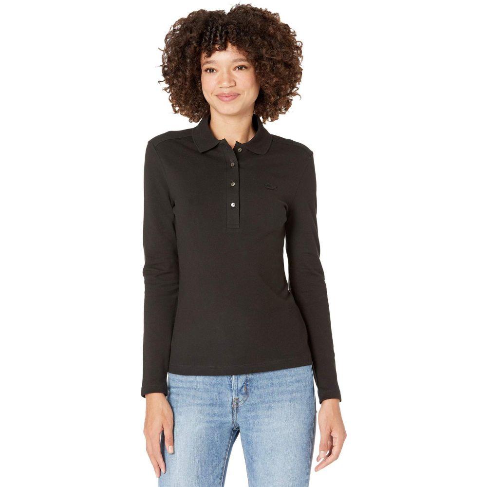 ラコステ レディース トップス ポロシャツ お中元 Black サイズ交換無料 Lacoste Long Pique Stretch Sleeve Polo Slim 返品交換不可