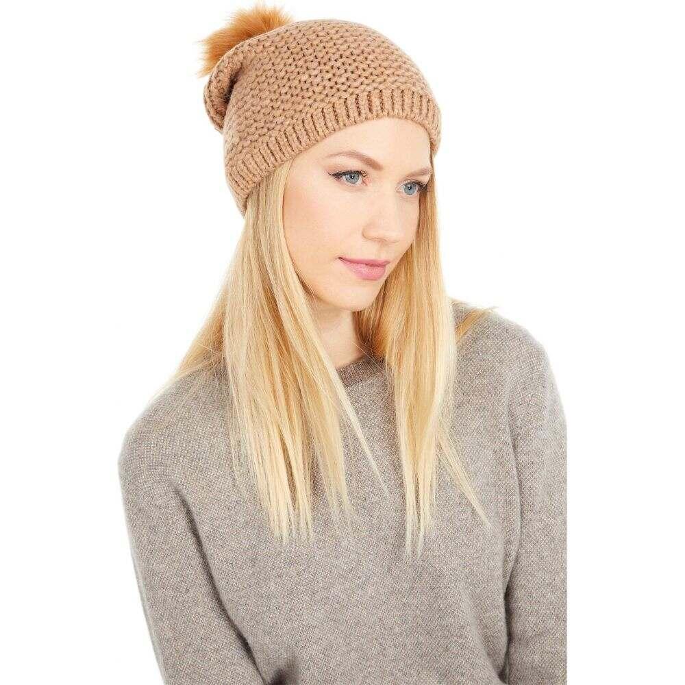 アグ レディース 帽子 ニット Camel サイズ交換無料 UGG ポンポン 価格 Reverse Fur Faux with ビーニー Stitch Beanie キャンペーンもお見逃しなく Pom