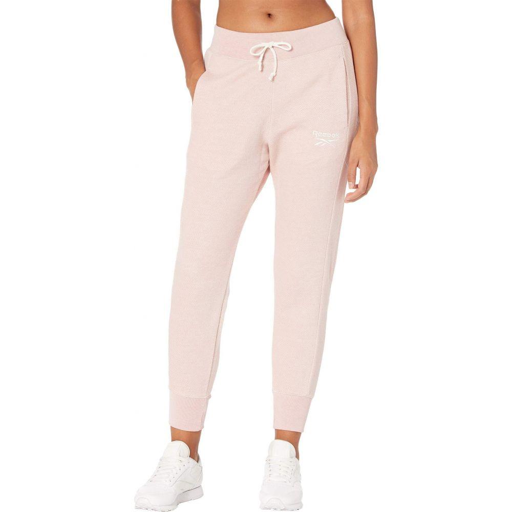 リーボック レディース フィットネス トレーニング 大特価 ボトムス パンツ Glass 人気ブレゼント! Pink Textured Logo Training Pants サイズ交換無料 Essentials Reebok