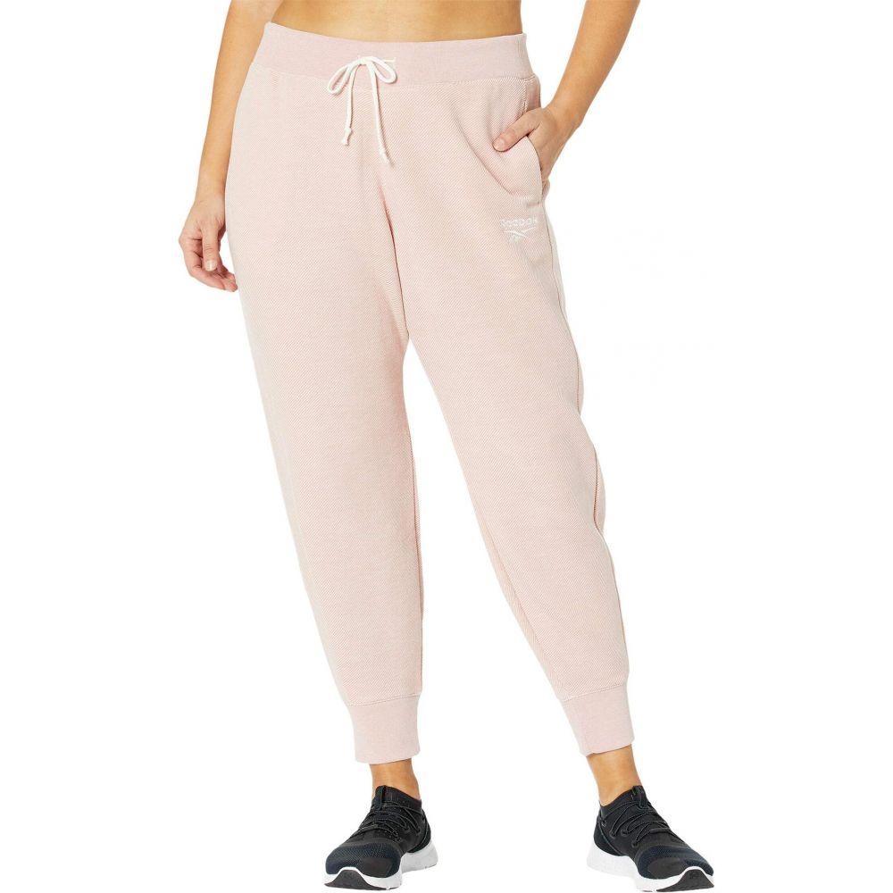 リーボック NEW売り切れる前に☆ レディース フィットネス トレーニング ボトムス パンツ Glass !超美品再入荷品質至上! Pink サイズ交換無料 Size Textured Essentials Plus Pants Training 大きいサイズ Logo Reebok