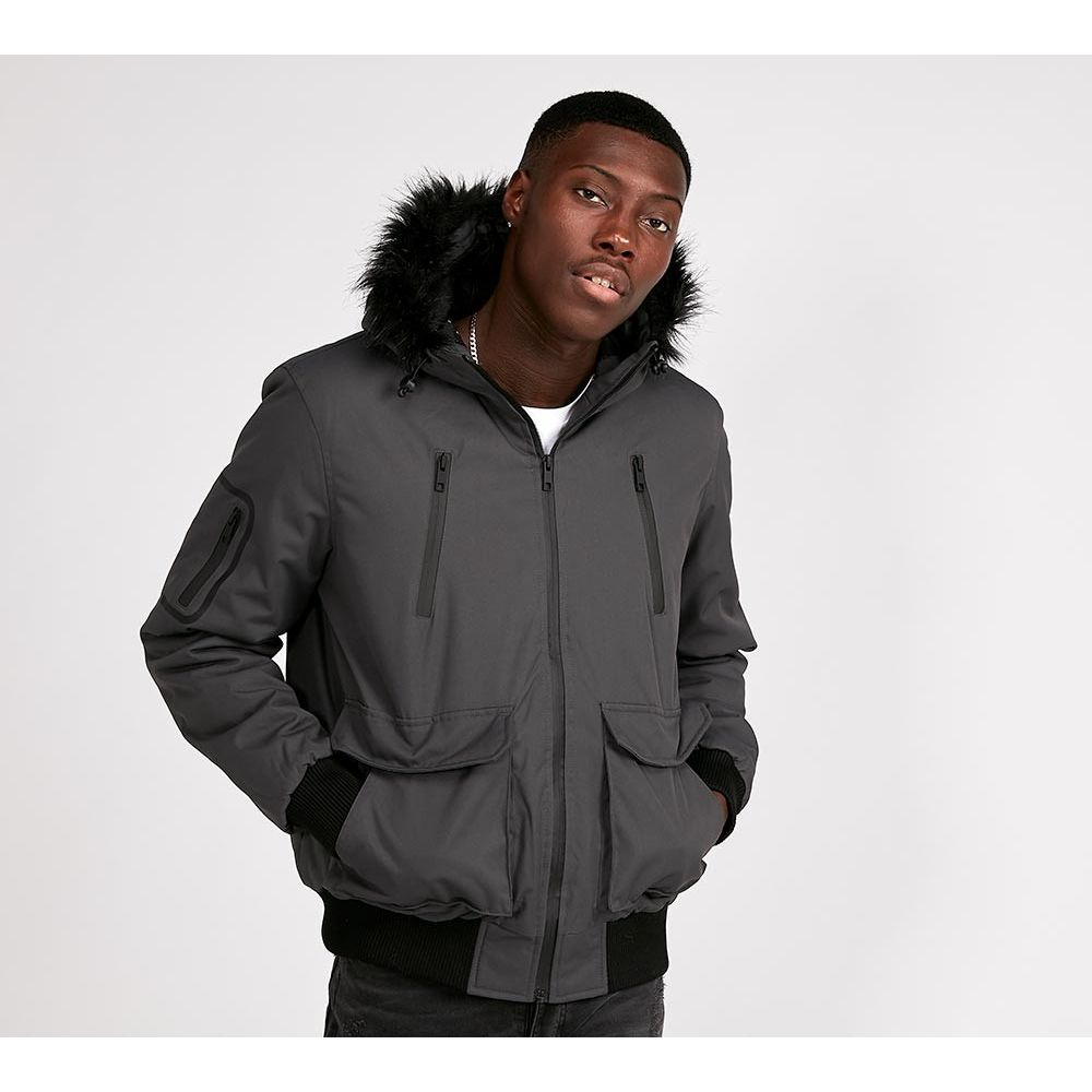 ブレイブソウル Brave Soul メンズ アウター ブルゾン【Bradshaw Tech Fur Hooded Bomber Jacket】Charcoal