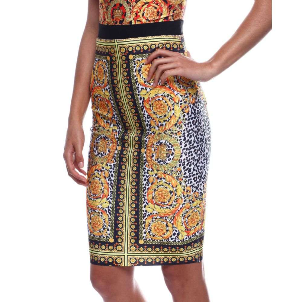 ファッションラボ Fashion Lab レディース スカート【multi print high waisted bandage skirt】White