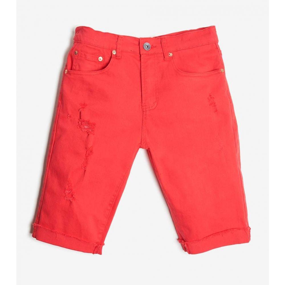 デシベル Decibel メンズ ショートパンツ ボトムス・パンツ【5 Pocket Shorts With Ripped Edge】Red