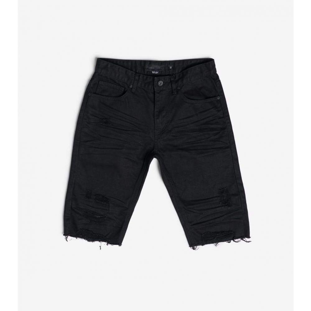 デシベル Decibel メンズ ショートパンツ デニム ボトムス・パンツ【Basic Rip off Denim Shorts】Black