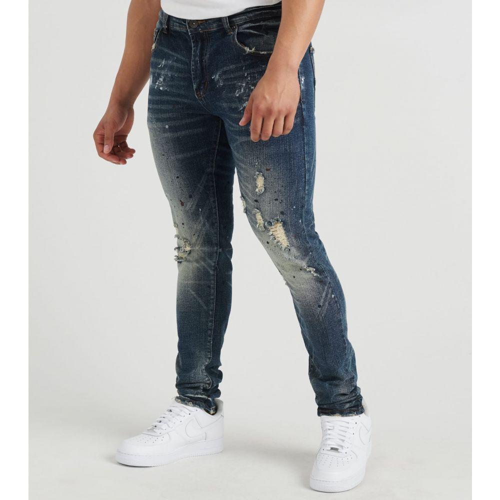 デシベル Decibel メンズ ジーンズ・デニム ボトムス・パンツ【Distressed 5 Pocket Jeans】Dark Indigo