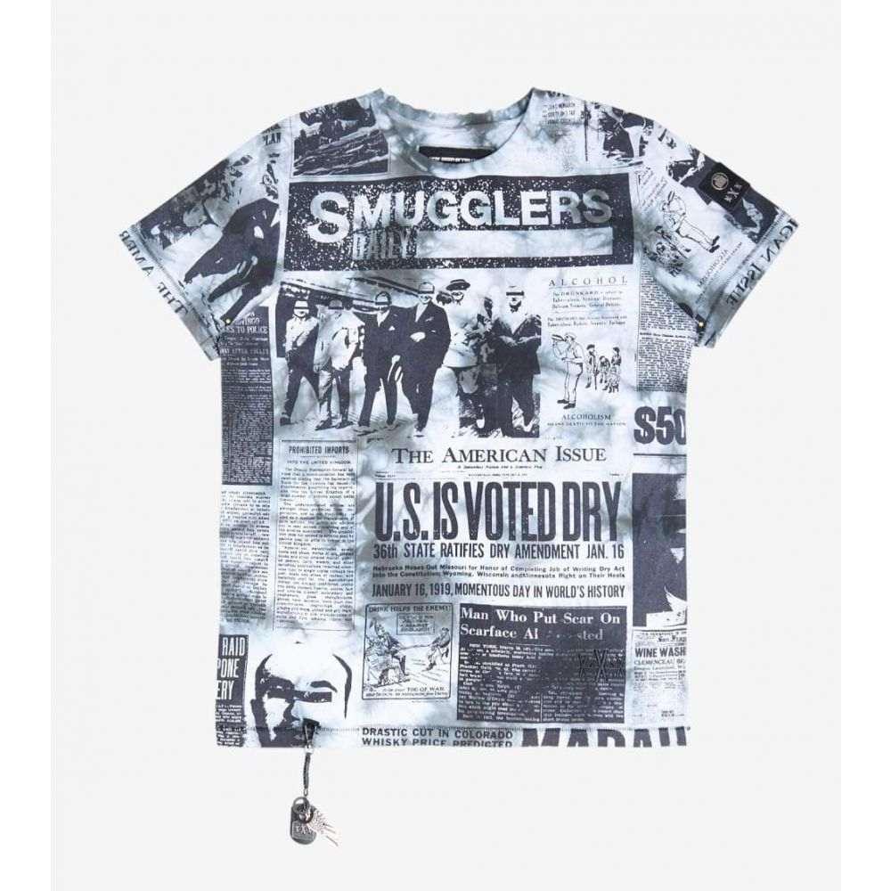 スマグラーズ ムーン Smugglers Moon メンズ Tシャツ トップス【Newspaper Print Tee】Black Tie Dye