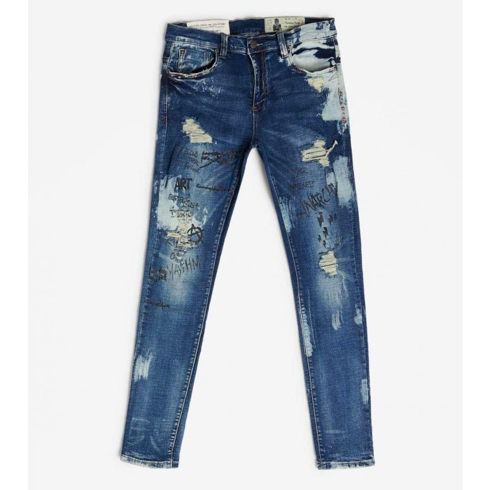 インダストリアル インディゴ Industrial Indigo メンズ ジーンズ・デニム ボトムス・パンツ【Discharge Bleach Wash W Print Jean】Indigo