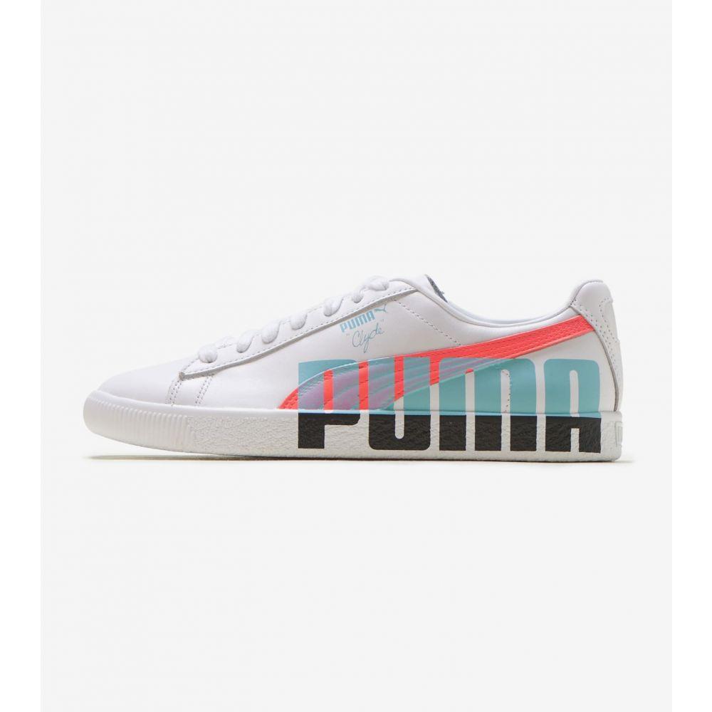 プーマ Puma レディース スニーカー シューズ・靴【Clyde Logo】White/Black/Teal