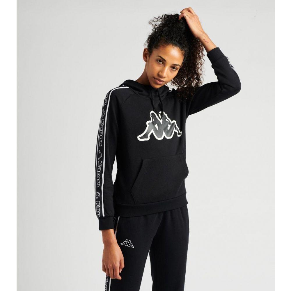 カッパ レディース トップス パーカー サイズ交換無料 在庫一掃売り切りセール Kappa ardachi BLACK-BLACK-WHITE tape logo 高級品 hoodie