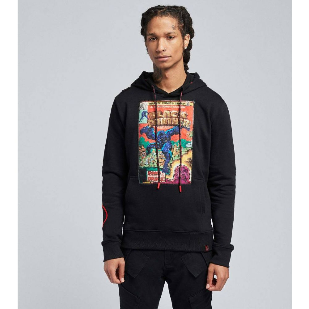DE.KRYPTIC メンズ トップス パーカー サイズ交換無料 black hoodie キャンペーンもお見逃しなく BLACK 信用 sequin panther pullover