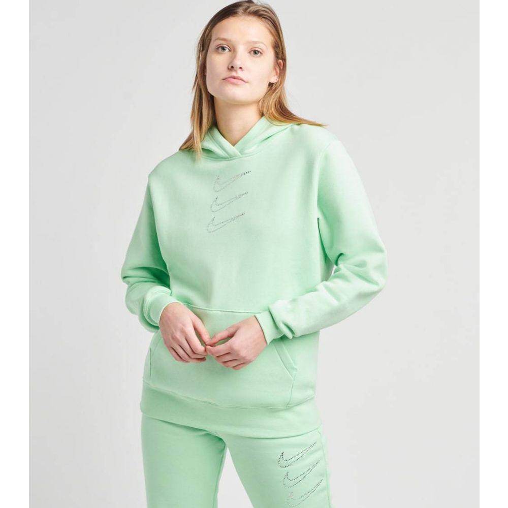 品質保証 ナイキ レディース トップス 付与 パーカー サイズ交換無料 Nike ラインストーン GREEN rhinestone fleece nsw hoodie MINT