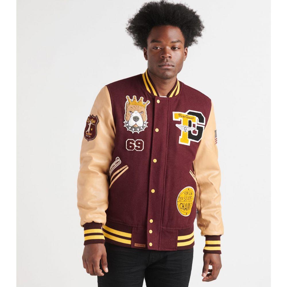 トップガン Top Gun メンズ ブルゾン アウター【king wool varsity jacket】Burgundy