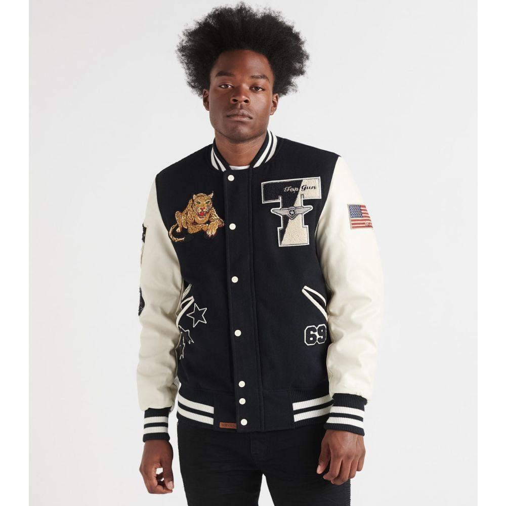 トップガン Top Gun メンズ ブルゾン アウター【leopard wool varsity jacket】Navy