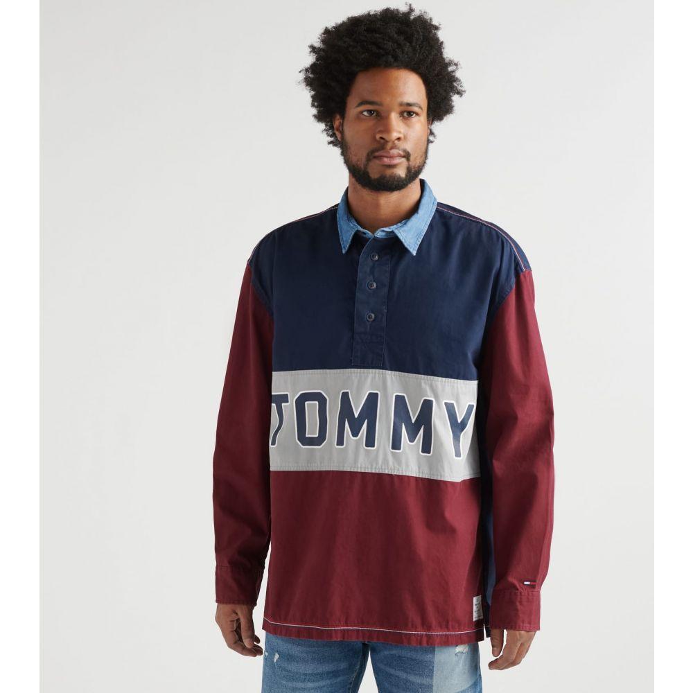 トミー ヒルフィガー Tommy Hilfiger メンズ 長袖Tシャツ トップス【Denzel Long Sleeve Rugby Shirt】Navy/Burgundy/Grey
