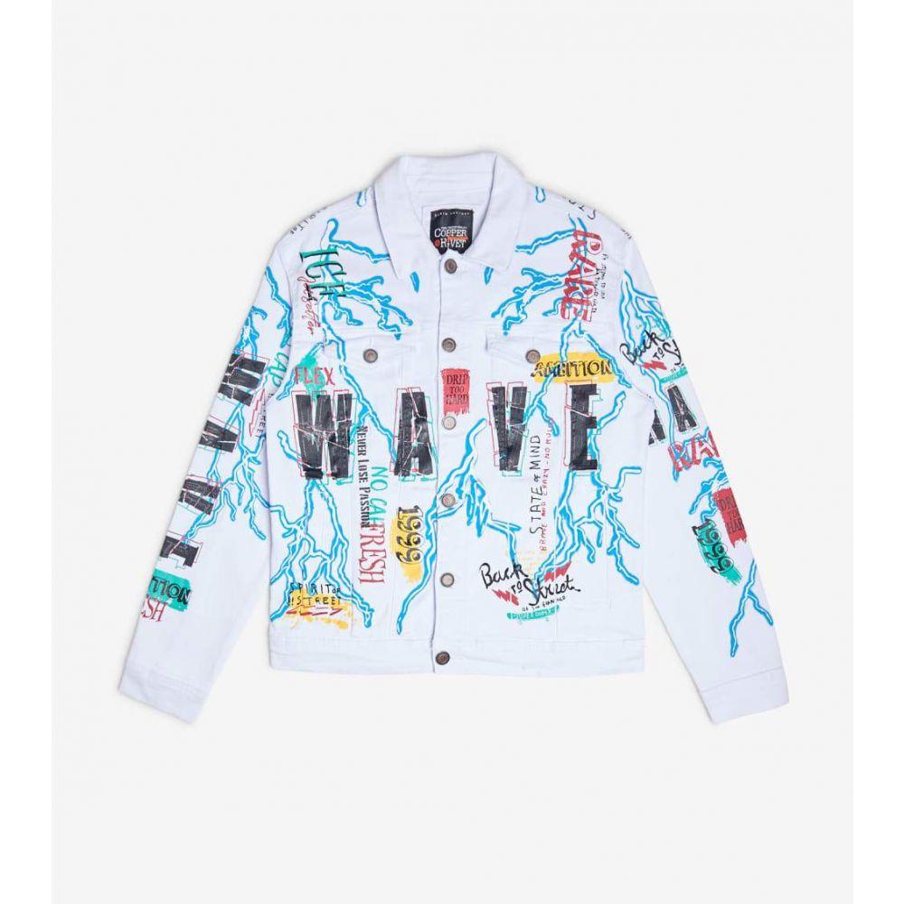 デシベル Decibel メンズ ジャケット アウター【Twill Jacket With Lightning N Wave Print】White