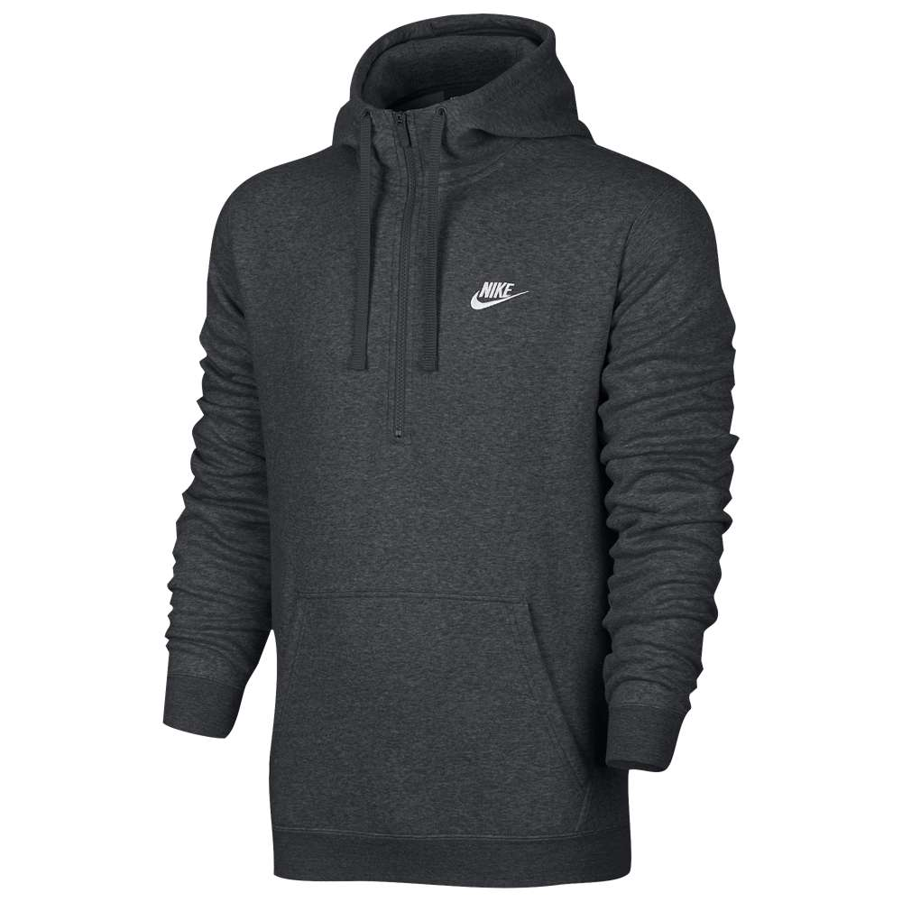ナイキ メンズ トップス スウェット・トレーナー【Nike Club Half Zip Fleece Hoodie】Charcoal Heather/Charcoal Heather/White