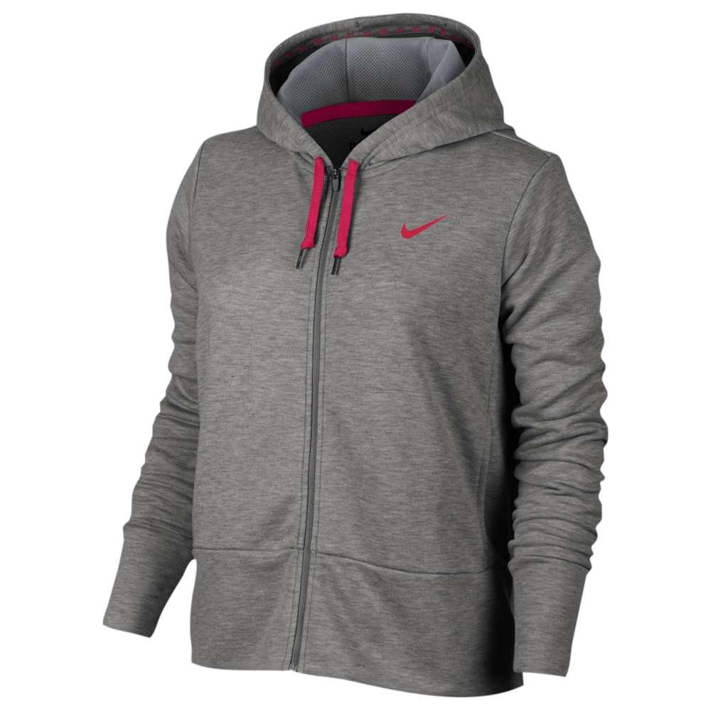 ナイキ レディース フィットネス・トレーニング トップス【Nike Lightweight Full Zip Sporty Hoodie】Dark Grey Heather/Cool Grey/Rush Pink
