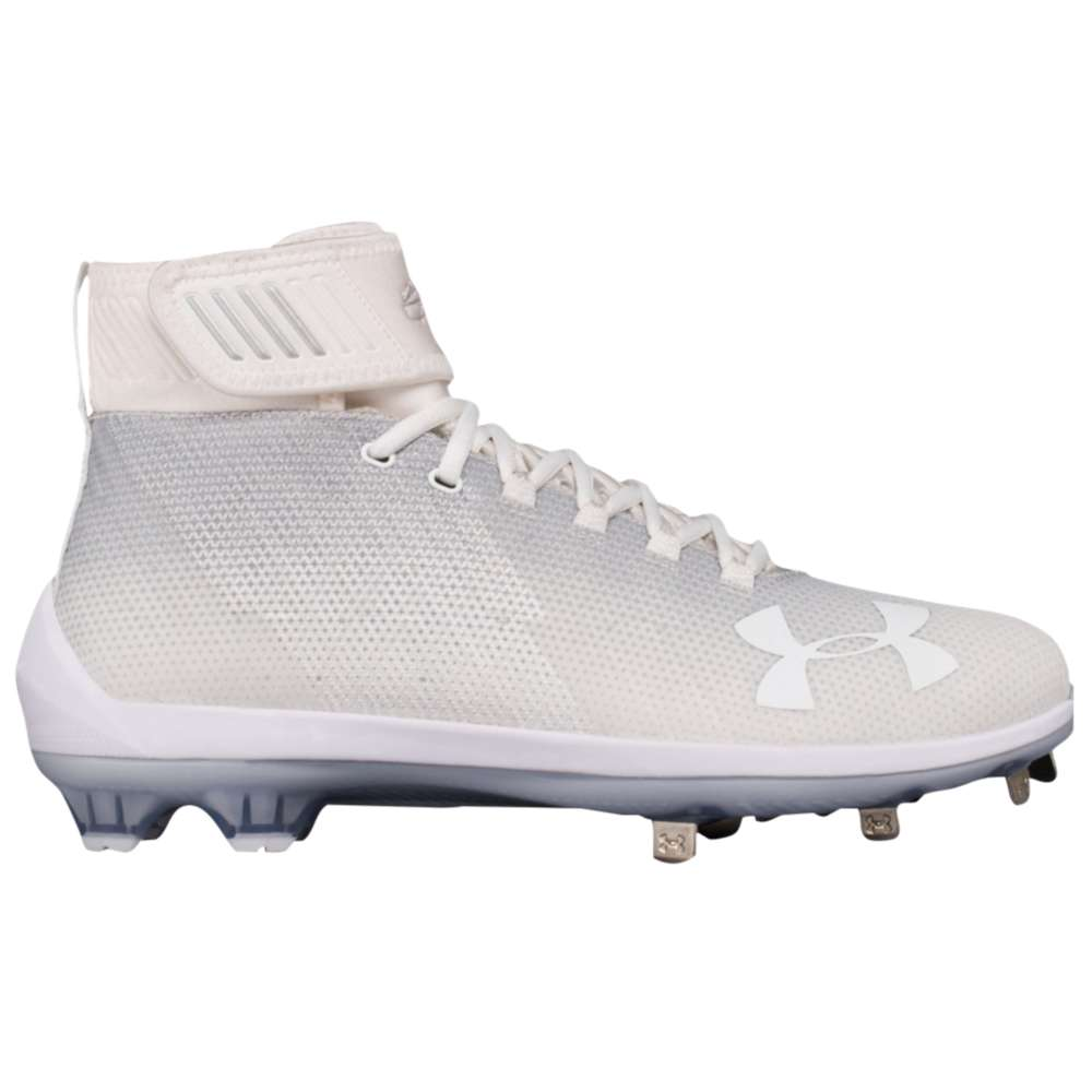 アンダーアーマー メンズ 野球 シューズ・靴【Under Armour Harper Two Mid ST】White/Metallic Silver
