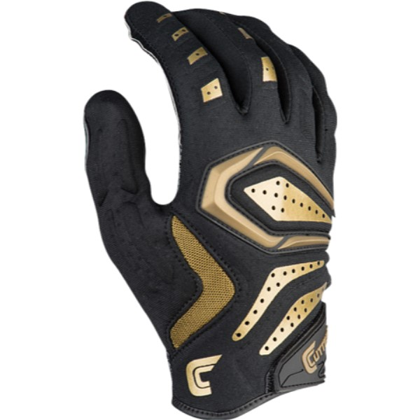 カッターズ メンズ アメリカンフットボール グローブ【Gamer 2.0 Padded Gloves】Black/Metallic Gold
