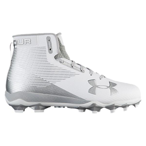 アンダーアーマー メンズ アメリカンフットボール シューズ・靴【Hammer MC】White/Metallic Silver