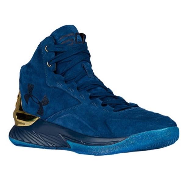 アンダーアーマー メンズ バスケットボール シューズ・靴【Curry 1 Lux Mid】Blackout Navy/Gold/Blackout Navy