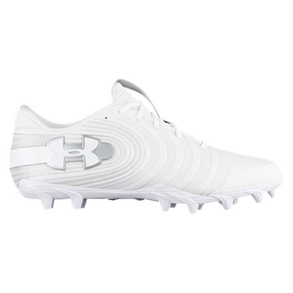 アンダーアーマー メンズ アメリカンフットボール シューズ・靴【Nitro Low MC】White/Metallic Silver