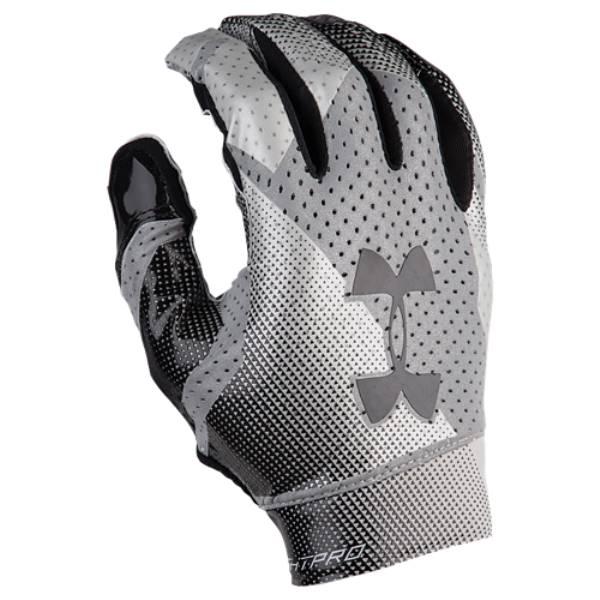 アンダーアーマー メンズ アメリカンフットボール グローブ【Spotlight Pro Football Gloves】Black/Metallic Silver