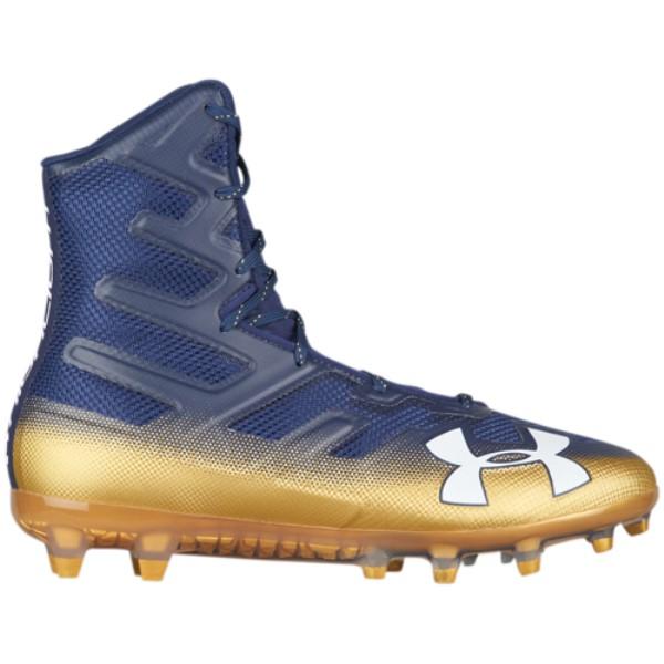 アンダーアーマー メンズ アメリカンフットボール シューズ・靴【Highlight MC】Navy/Metallic Gold