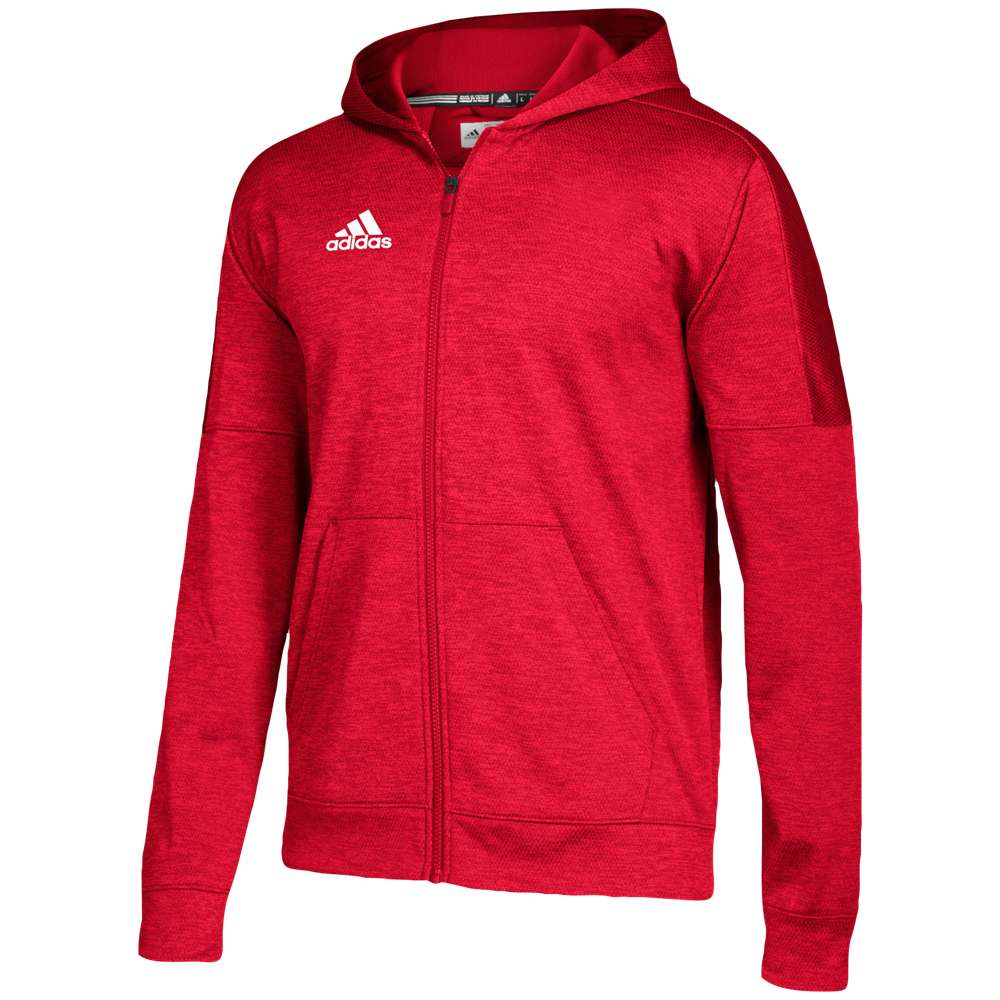 アディダス メンズ トップス フリース【Team Issue Fleece Full Zip Hoodie】Power Red/White