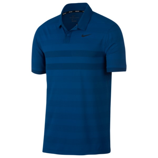 ナイキ メンズ ゴルフ トップス【Zonal Cooling Stripe Golf Polo】Gym Blue/Black