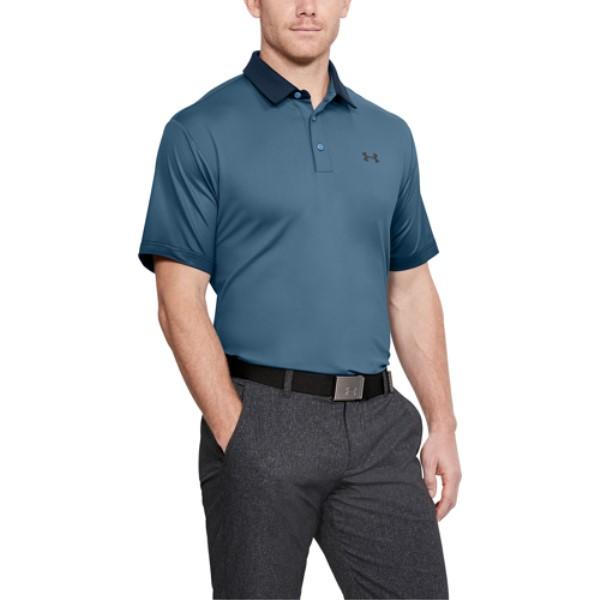 アンダーアーマー メンズ ゴルフ トップス【Playoff Golf Polo】Bass Blue/Academy/Rhino Gray