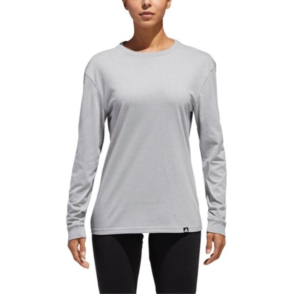 最愛 アディダス レディース Long Heather/White フィットネス・トレーニング トップス【Logo Moto Top】Medium Long Sleeve Top】Medium Grey Heather/White, 春のコレクション:227df0ab --- themarqueeindrumlish.ie