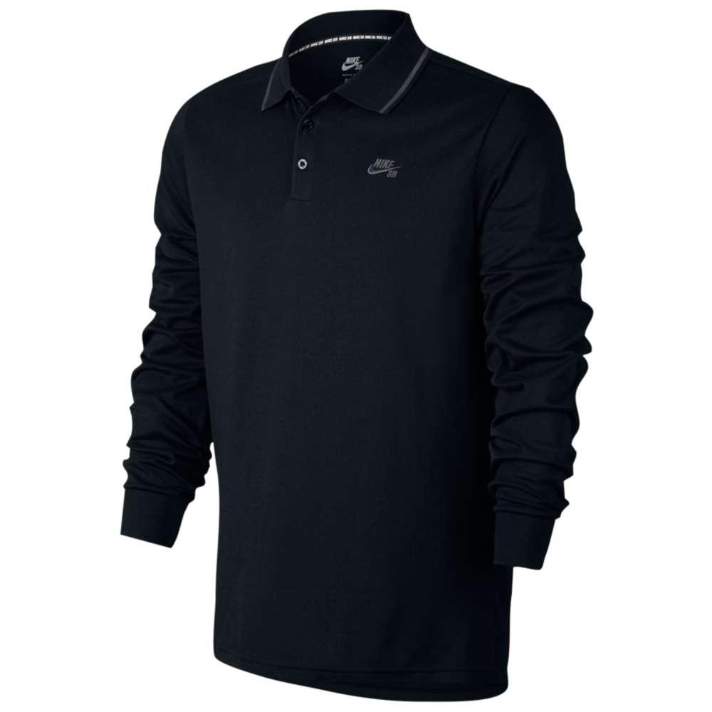 ナイキ Nike SB メンズ トップス ポロシャツ【Dri-FIT Pique L/S Polos】Black/Anthracite