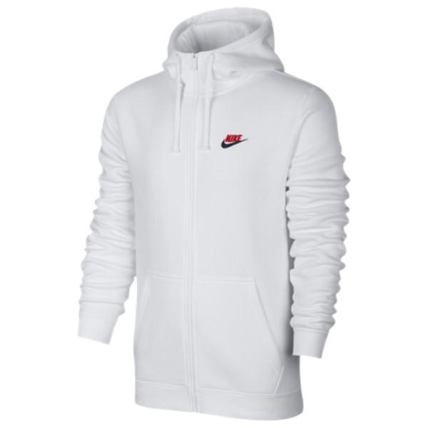 ナイキ Nike メンズ トップス パーカー【Club Full Zip Fleece Hoodie】White/White/University Red