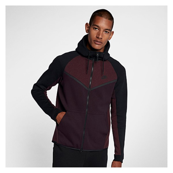 ナイキ Nike メンズ トップス フリース【Tech Fleece Colorblocked Windrunner】Port Wine/Black/Black