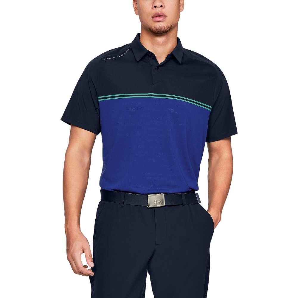 アンダーアーマー Under Armour メンズ ゴルフ トップス【Threadborne Calibrate Golf Polo】Academy/Green Typhoon/Rhino Gray