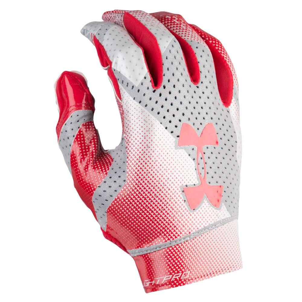 アンダーアーマー Under Armour メンズ アメリカンフットボール グローブ【Spotlight Pro Football Gloves】Red/Metallic Silver