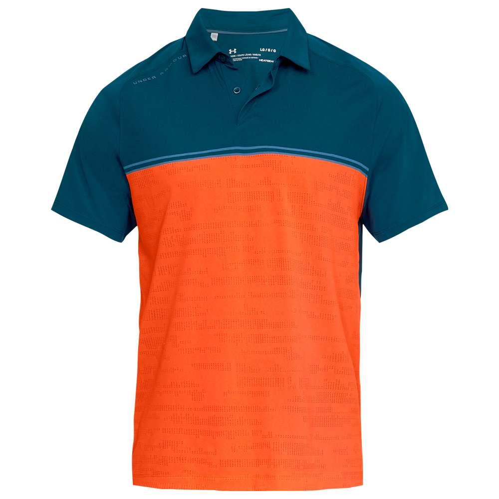 アンダーアーマー Under Armour メンズ ゴルフ トップス【Threadborne Calibrate Golf Polo】Techno Teal/Orange